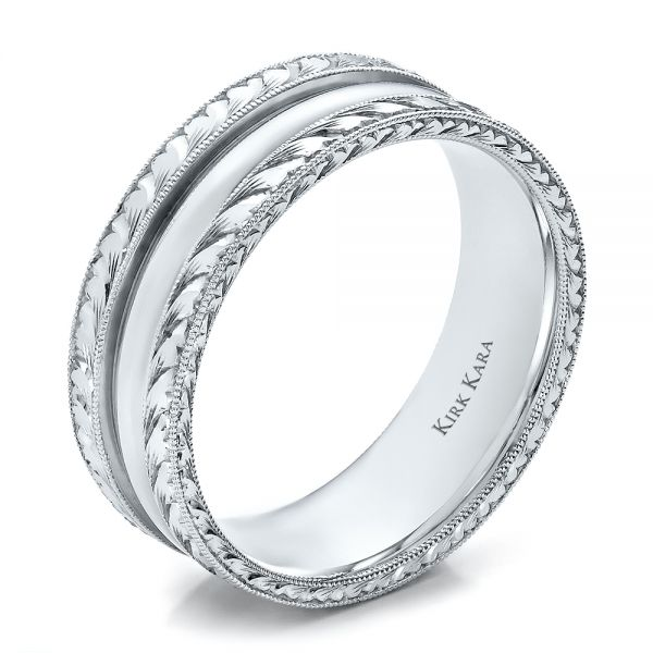 Hand Engraved Men's Wedding Band - Kirk Kara - Image