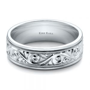 Hand Engraved Men's Wedding Band - Kirk Kara