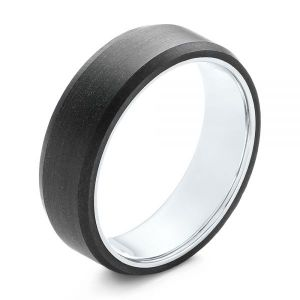Matte Carbon Fiber and White Gold Wedding Band - Image
