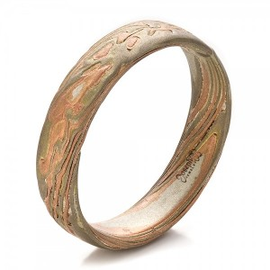 Men's Etched Mokume Band - Image