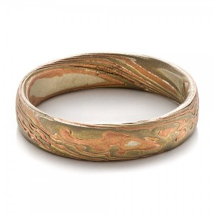 Men's Etched Mokume Band