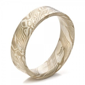 Men's Mokume Flat Band - Image