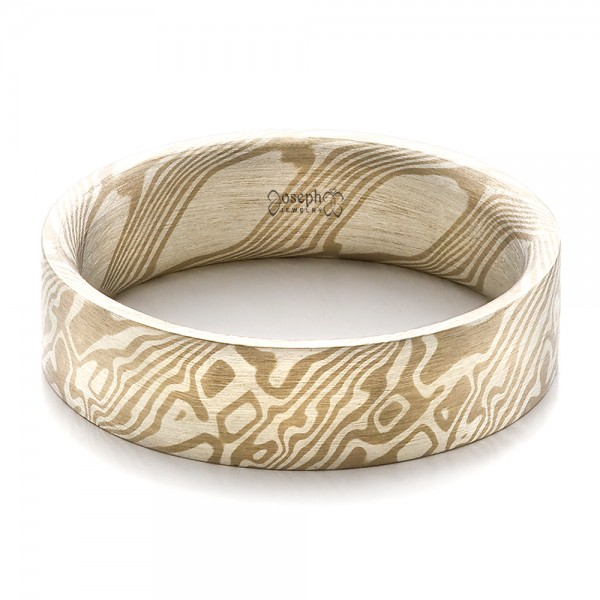 Men's Mokume Flat Band - Flat View -  100524 - Thumbnail