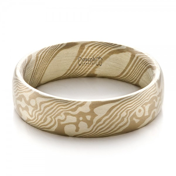 Men's Mokume Half Round Band - Flat View -