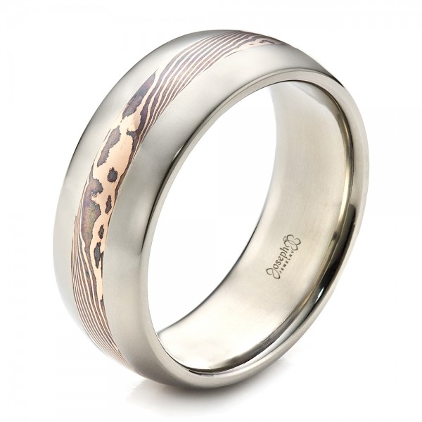 Men39s palladium and mokume wedding band 1465 for Palladium wedding ring