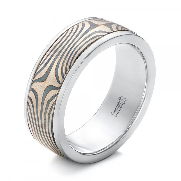 Men's Platinum and Mokume Wedding Band
