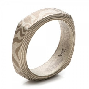 Men's Sandblasted Mokume Square Band