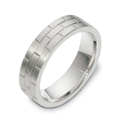 Mens 18k White Gold Band 414