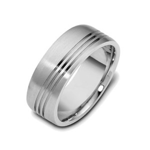 Men's 18k White Gold Band 8mm