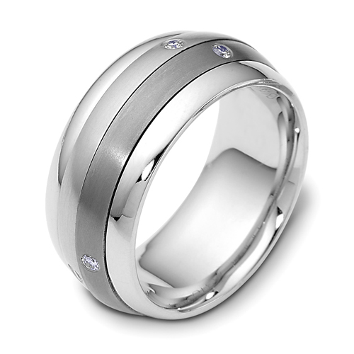 Mens 18k White Gold Titanium And Diamond Band 450