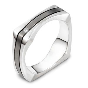 Men's 18k White Gold, Titanium and Diamond Band - Image