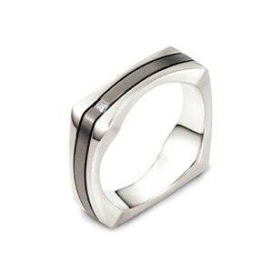 Men's 18k White Gold, Titanium and Diamond Band