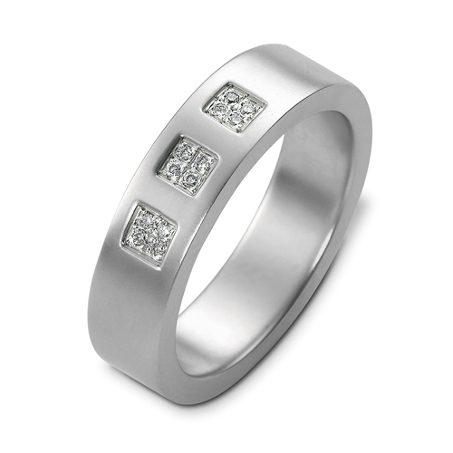 Men's 18k White Gold and Diamond Band - 3/4 View