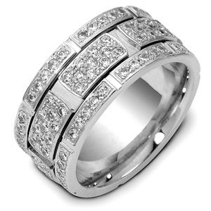 Men's 18k White Gold and Diamond Band - Image