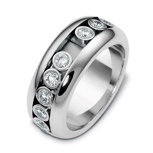 18k White Gold Men's Diamond Band - Three-Quarter View -