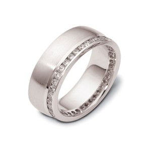 Men's 18k White Gold and Diamond Band