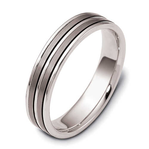 Men's 18k White Gold and Titanium Band - Three-Quarter View -  442 - Thumbnail