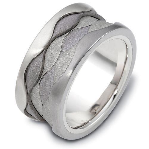 Men's 18k White Gold and Titanium Band - Image