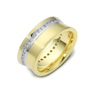Men's 18k White & Yellow Gold Band