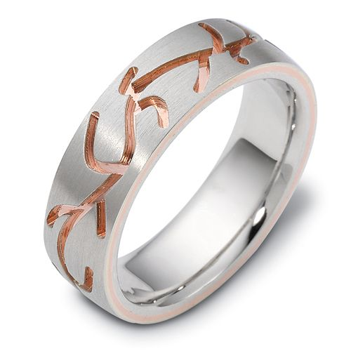 Men's 18k White and Rose Gold Band - Image
