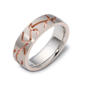 Men's 18k White and Rose Gold Band