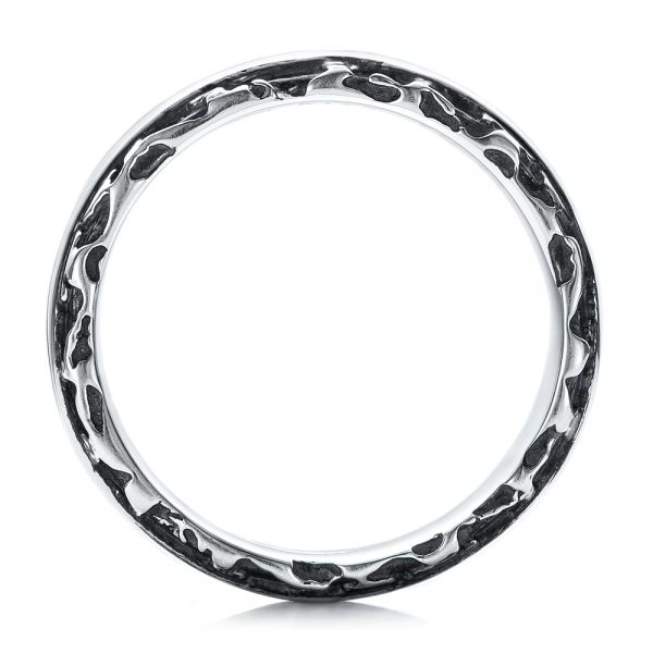 Men's Black And White Sterling Silver Band - Front View -