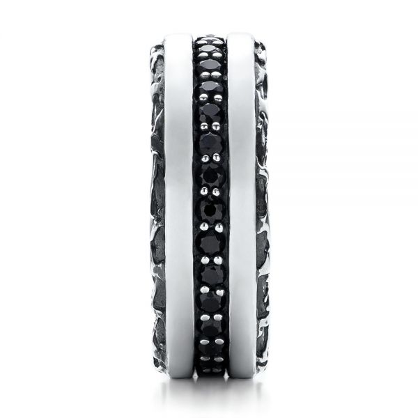 Men's Black And White Sterling Silver Band - Side View -