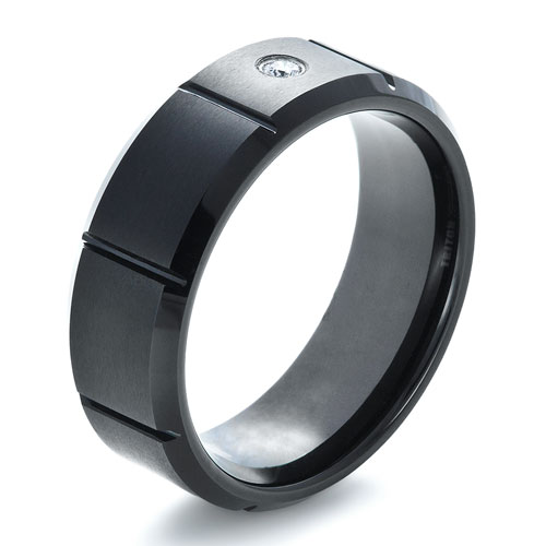 Men's Black Tungsten Ring with Center Diamond
