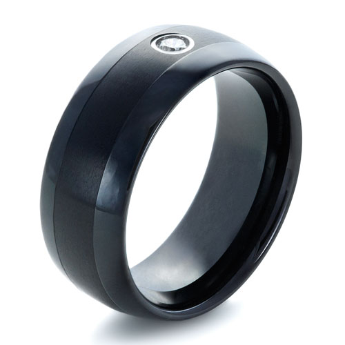 Men's Black Tungsten Ring with Diamond