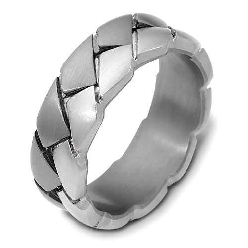 Men's Braided 18k White Gold and Titanium Band - Image