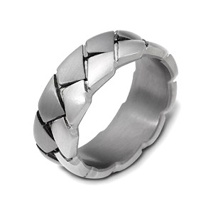 Men's Braided 18k White Gold and Titanium Band