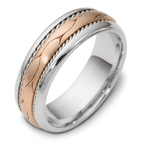18K Gold And 18k Rose Gold 18K Gold And 18k Rose Gold Men's Braided Two-tone Band - Three-Quarter View -