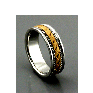 Men's Braided Two-Tone Gold Band - Samuel Jewels