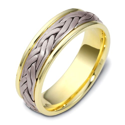 Men's Braided Two-Tone Gold Band - Image