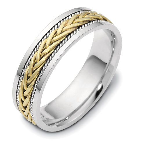 18K Gold And 18k Yellow Gold Men's Braided Two-tone Band - Three-Quarter View -  306