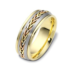 Men's Braided Two-Tone Gold Band