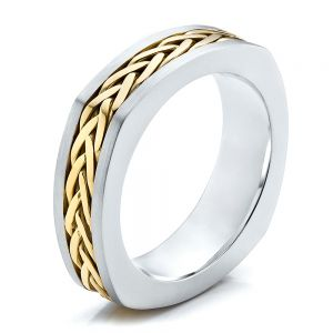 Men's Braided Two-Tone Wedding Band - Image