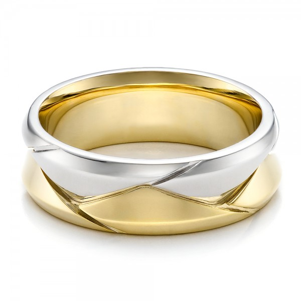 mens braided two tone wedding band laying view - Two Tone Wedding Rings