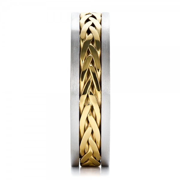 Men's Braided Two-Tone Wedding Band - Side View