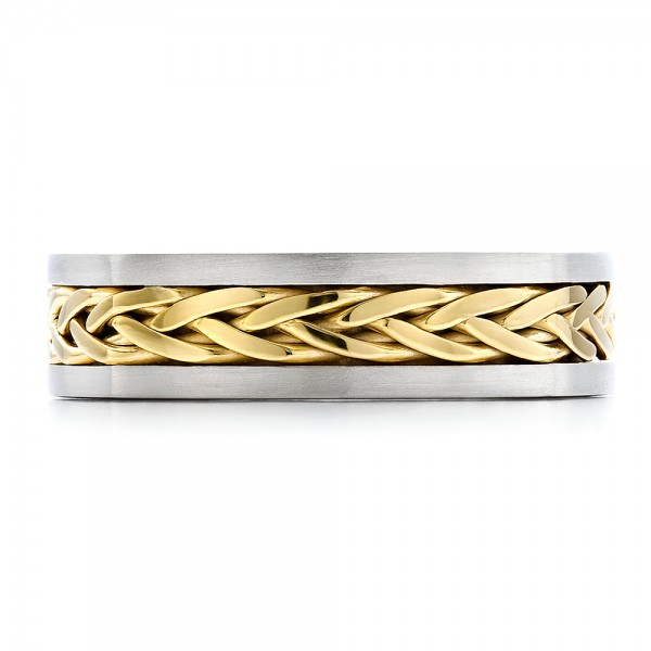 Men's Braided Two-Tone Wedding Band - Top View
