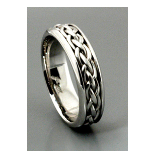 Men's Braided White Gold Band - Samuel Jewels