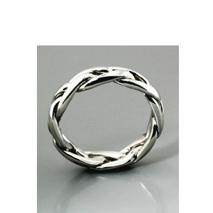 Men's Braided White Gold Band