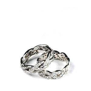 Men's Braided White Gold and Diamond Band - Samuel Jewels