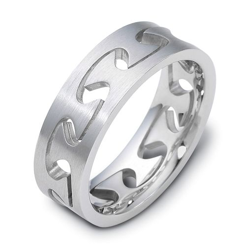 Men's Brushed 18k White Gold Band - Image