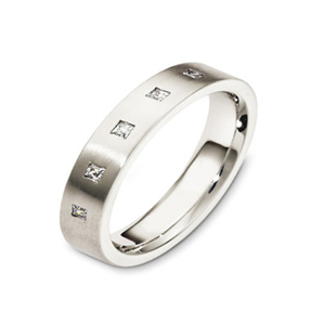 Men's Brushed 18k White Gold Band