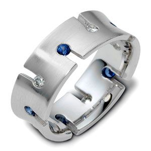 Men's Brushed 18k White Gold, Diamond and Sapphire Band