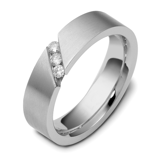 Men's Brushed 18k White Gold and Diamond Band