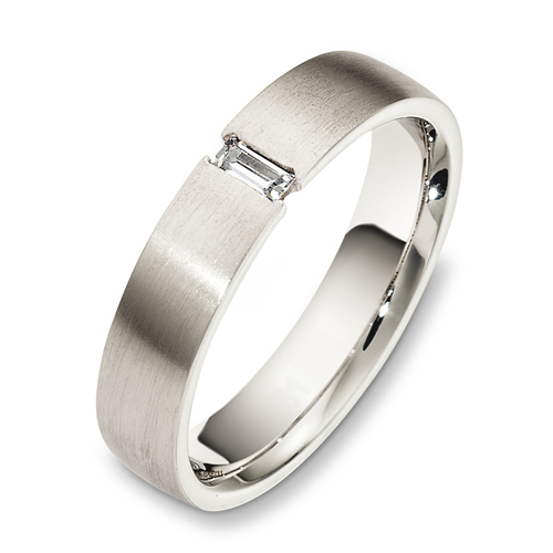Men's Brushed 18k White Gold and Diamond Band - Three-Quarter View -  479 - Thumbnail
