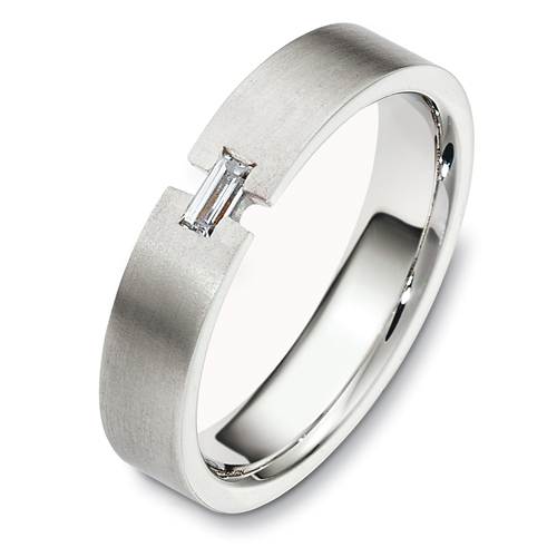 Men's Brushed 18k White Gold and Diamond Band - Three-Quarter View -  481 - Thumbnail