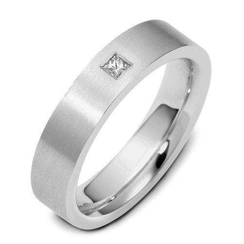 Men's Brushed 18k White Gold and Diamond Band - Image